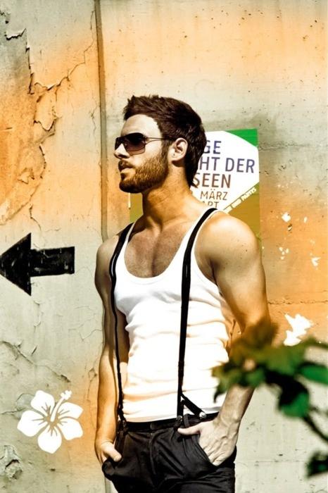 Suspenders are cute but he is hawt