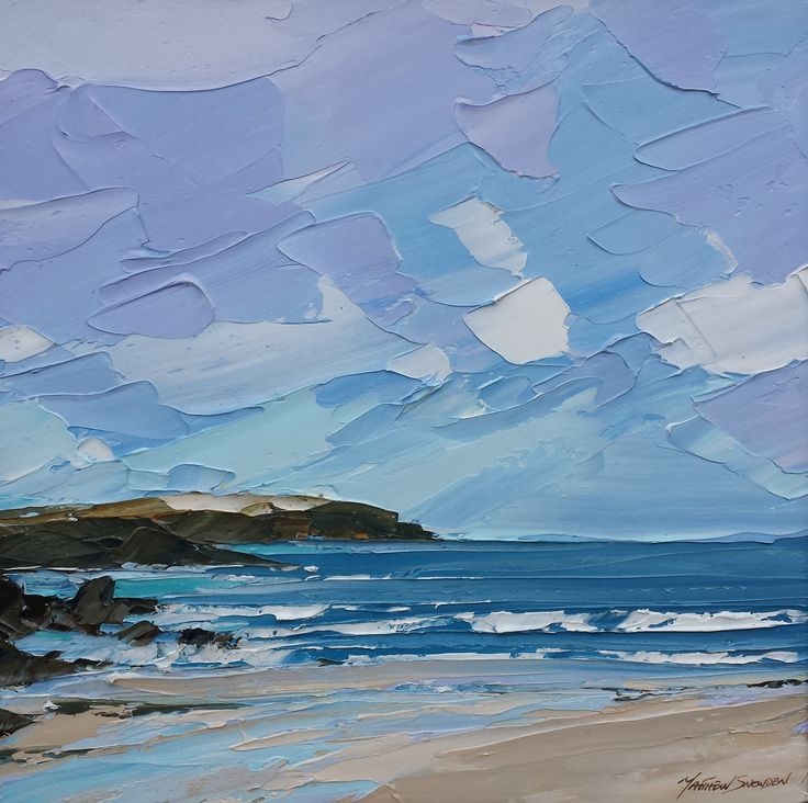 Trevone Cornwall 60x60cm - MATTHEW SNOWDENLike how he has used a palette knife to create depth and mix the colours on the palette.