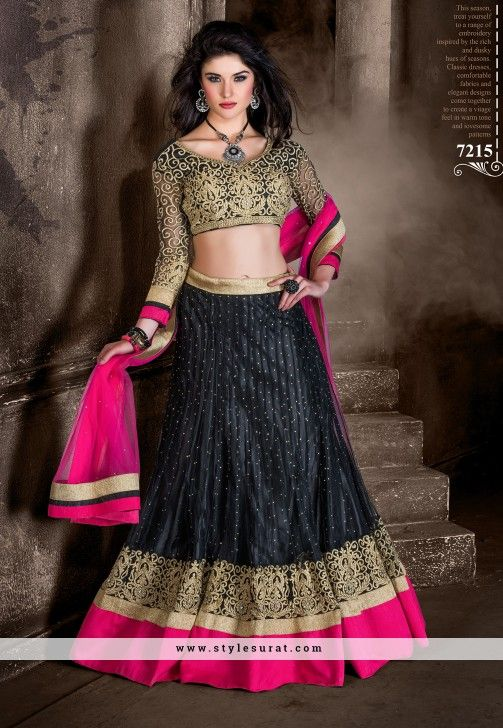 Black And Pink Color Net And Banglori Silk Designer Party Wear A-line Lehenga Choli-7215