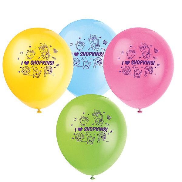"""SHOPKINS 12"""" Latex BALLOONS Birthday Party Supplies Decorations Décor Props"""