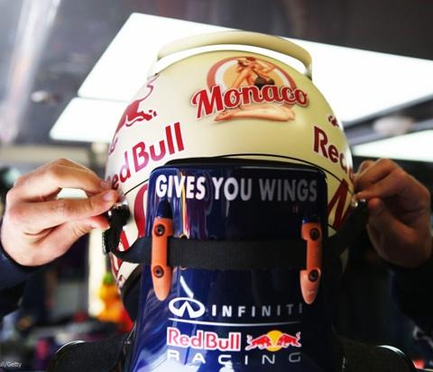 Sebastian Vettel helmet featuring glitz of Monaco on back side of it. Hope it gives him WINGS!!!