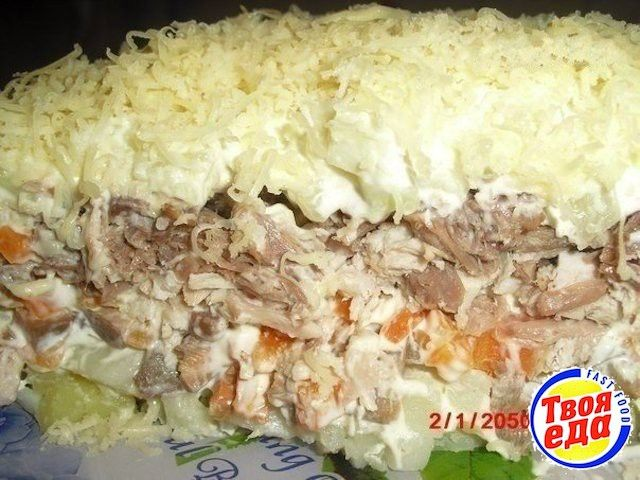 Вкусный салат с мясом и грбами, где с ингредиентами точно не напутать: все в равных пропорциях! Легко? Да! Вкусно? Очень! Мне понравилось)