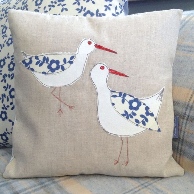 Oystercatchers Appliqued Cushion, handmade and embroidered by Karen Walshe