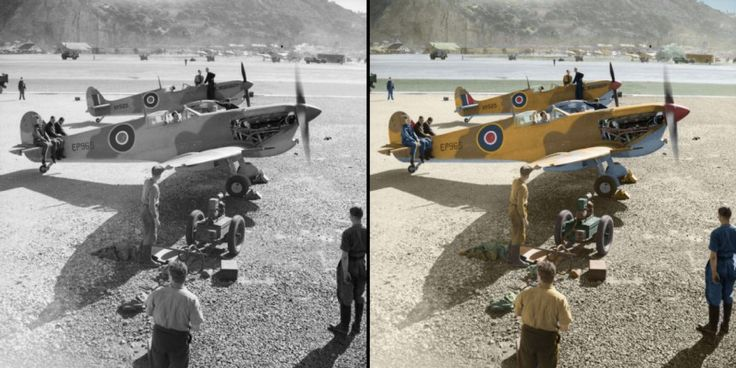 1942: Supermarine Spitfire Mark Vs assembled by the Special Erection Party for Operation TORCH, undergoing initial engine tests at North Front, Gibraltar. The Special Erection Party was established at Gibraltar in July 1942 to assemble and test fly aircraft crated from Britain by sea for the reinforcement of Malta. On 28 October 1942 an unexpected shipment of 116 Spitfires and 13 Hawker Hurricanes arrived to be prepared for the Allied landings in North Africa (Operation TORCH) and a further…