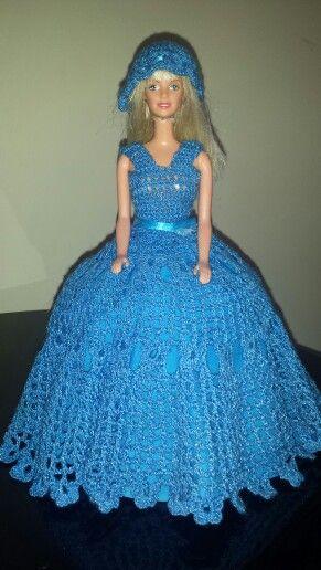 vestido para barbie tejido a crochet recuerdos de mesa