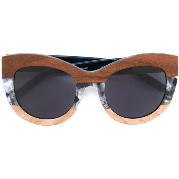Linda Farrow Gallery Marble Frame Sunglasses ($272) ❤ liked on Polyvore featuring accessories, eyewear, sunglasses, black, wooden eyewear, wood sunglasses, linda farrow glasses, wood glasses and linda farrow sunglasses