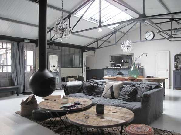 Loft industriel inspirations deco pinterest cr ation d 39 int rieur in - Deco industrielle salon ...