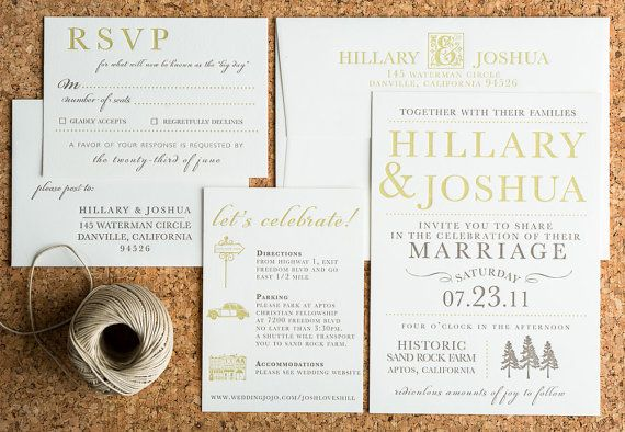 Wedding Invitation Rustic Farm Wedding Letterpress Collection Woodland Themed Invitations