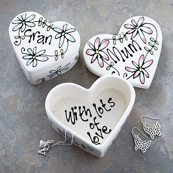 Personalised heart trinket box.  Ideal for earrings, jewellery or other items.