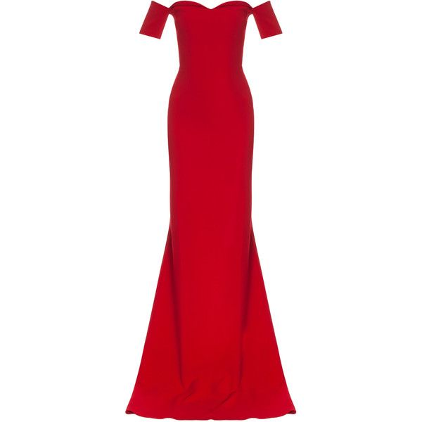 SAFIYAA Drop Shoulder Heart Nck Gown (106.673.250 IDR) ❤ liked on Polyvore featuring dresses, gowns, long dresses, vestidos, short sleeve dress, off shoulder dress, off shoulder gown, long red evening dress and long sleeve short dress