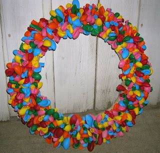 How to make a Birthday Balloon Wreath- when it's someone's birthday, it's our tradition to hang this wreath on the front door.