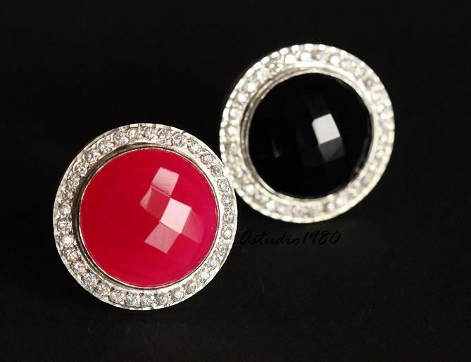 Statement Pink ring - Zircon silver ring - Gemstone ring - Bezel set
