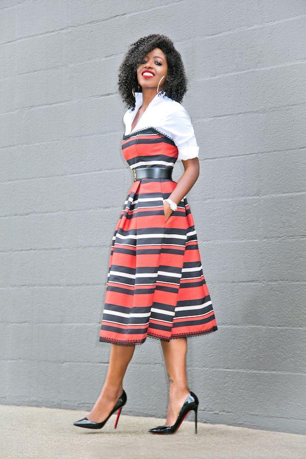 Style Pantry   White Button Down Shirt + Striped Strapless Midi Dress