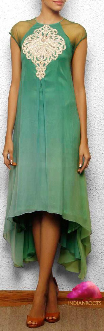 Green Shaded Georgette Dress by Aneehka by Anika C at indianroots.com