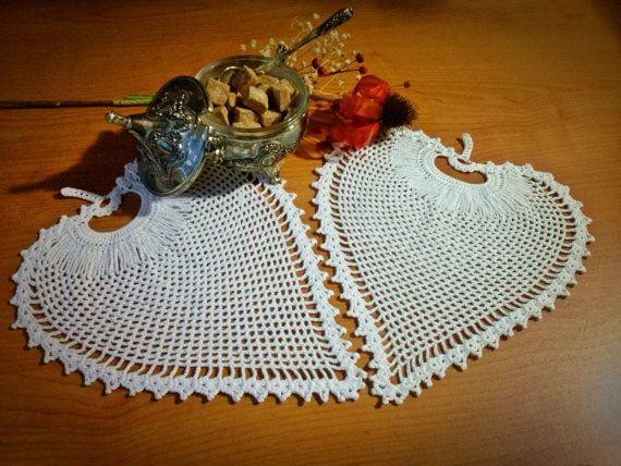 Crochet White Doily Set  Two Leaf Shaped White by LoriYarns, $22.00