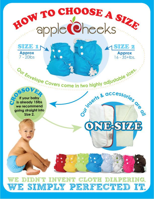 AppleCheeks Envelope Cover - Size 2 (20-40lbs) from Gentle Nest