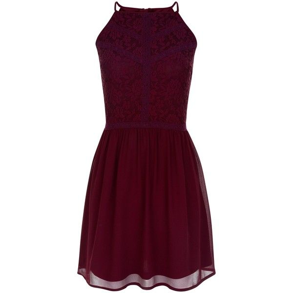 New Look Teens Burgundy Floral Print Lace Panel Dress ($26) ❤ liked on Polyvore featuring dresses, burgundy, holiday party dresses, party dresses, floral mini dress, floral print dress and purple dresses