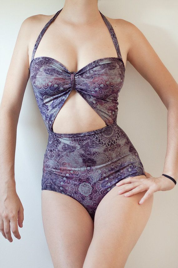 Kelly swimsuit - one piece with cutouts, kaleidoscopic print made to fit your measurements