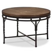 Baxton Studio Austin Vintage Industrial Antique Bronze Round Coffee Cocktail Occasional Table Affordable modern furniture in Chicago, classic living room furniture, modern end tables, cheap end tables