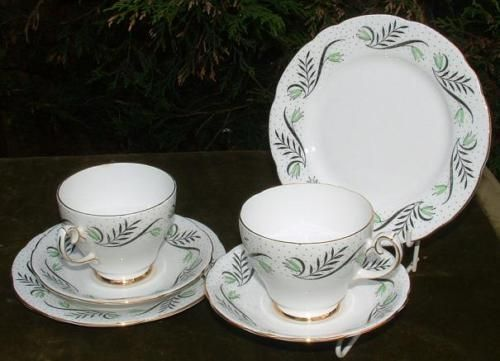 GLADSTONE BONE CHINA CONTEMPORARY PAIR TEA TRIOS C1955 ie.picclick.com