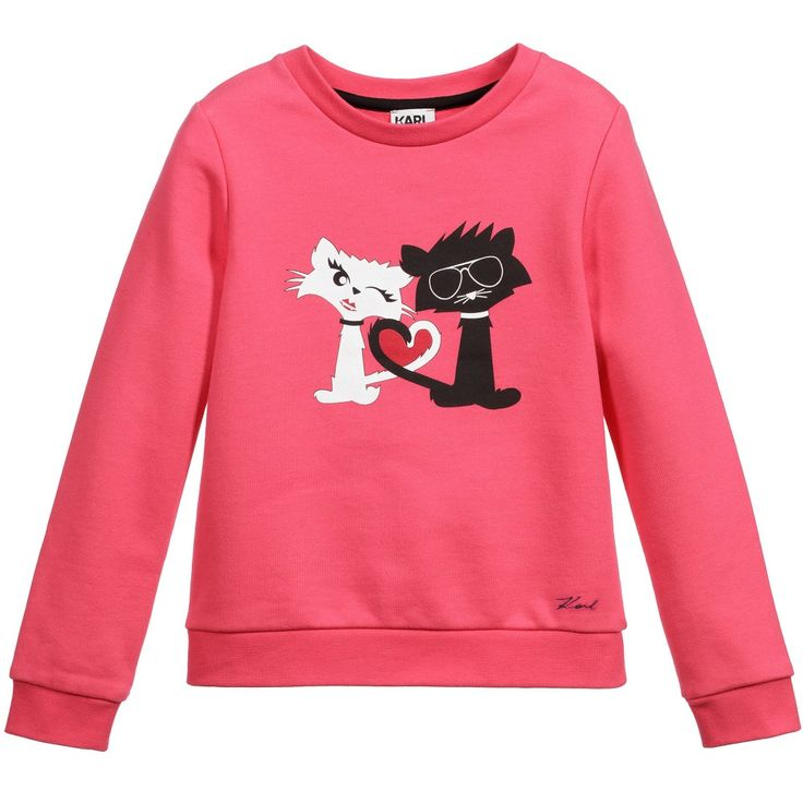 Girls pink 'Rock Chic' sweatshirt. Made in mid-weight cotton jersey, this stylish design forms part of the brand new children's wear range from iconic designer Karl Lagerfeld Kids. The front has a graphic print of Karl's treasured pet cat, 'Choupette' and her partner, 'Bad Boy' on the front. The lining is a soft French terry towelling.<br /> <br /> Model: Height 129cm (average 8 years)<br /> Size of sweatshirt shown in the photo: 8 years <ul> <li>88% cotton,12% polyester (soft mid-weight…
