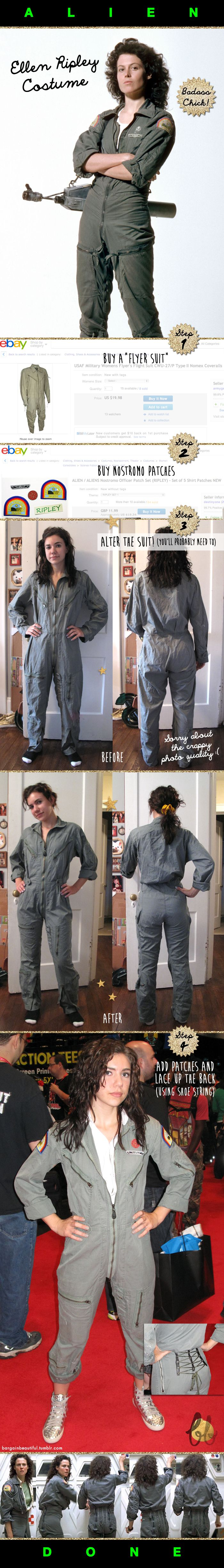 I'm impressed by this Ellen Ripley Alien Costume transformation. (Coveralls work also.)