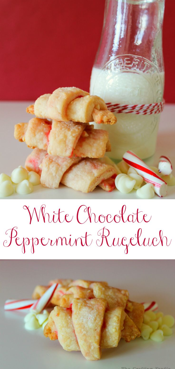 These Peppermint White Chocolate Rugelach Cookies are so pretty for the holiday party or cookie exchange! Made with crushed candy cans and white chocolate! |The Crafting Foodie for OHMY-CREATIVE.COM