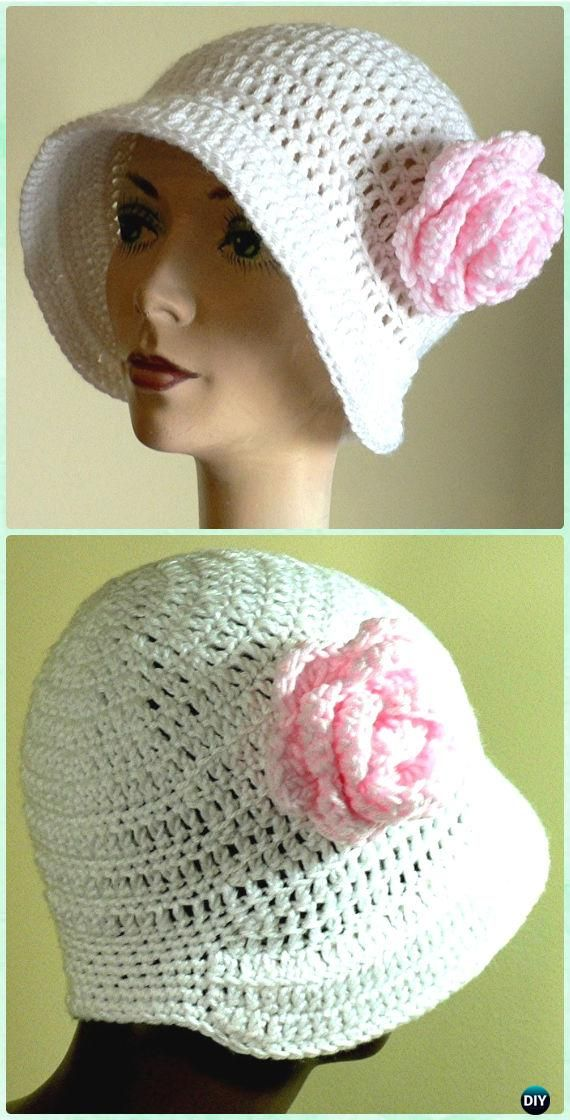 Crochet Crochet Flapper Hat Sun Hat Free Pattern - #Crochet; Adult Sun #Hat Free Patterns