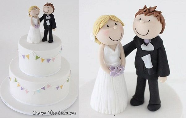 bride and groom cake topper wedding cake topper by Sharon Wee Creations