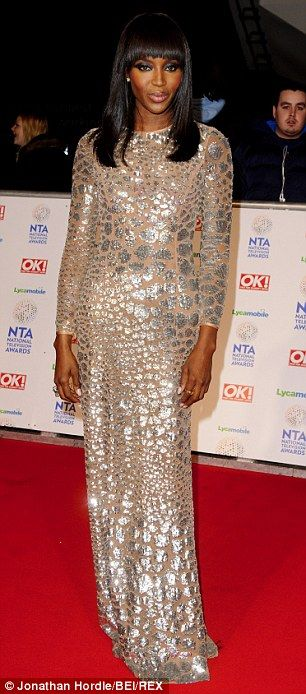 Naomi Campbell shimmers at the National Television Awards