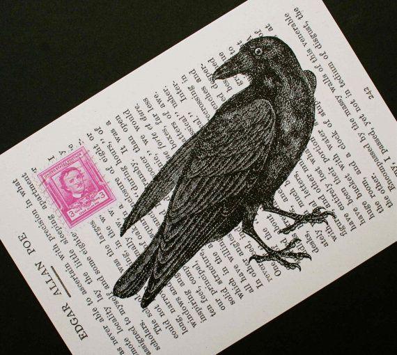 Poe's Raven: digital collage print, by CrowBiz on Etsy.: Crows Ravens, Crows Prints, Ravens Collage, Poe Ravens, Ravens Poem, Clever Ideas, Black Crows, Poe Stamps, Collage Prints
