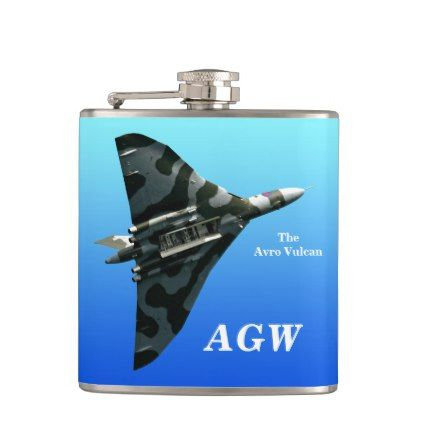 The Avro Vulcan Bomber with mongram personalized Hip Flask - vintage gifts retro ideas cyo