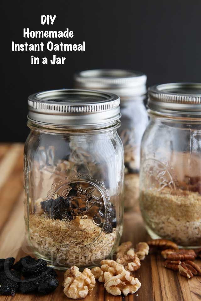 DIY Mix and Match Instant Oatmeal in a Jar. Post includes nutritional info for several recipes plus a convenient calorie chart for other popular oatmeal add-ins/toppings to help keep you within your daily calorie/dietary goals