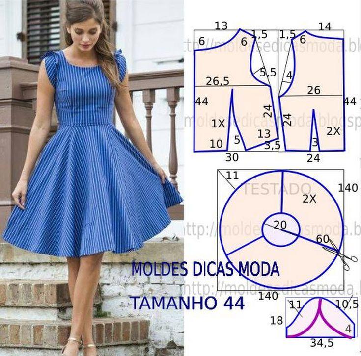 VESTIDO PANOS FÁCIL- 80 - Moldes Moda por Medida