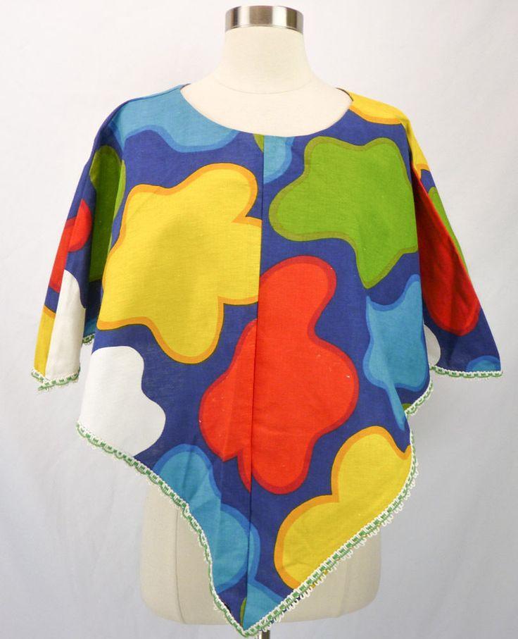 Vintage 60s Colorful Op-Art Hippie Festival PONCHO Cape Top, Psychedelic M #SusanAnderson