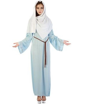 Maagd Maria kerst kostuum voor dames. Maria kostuum bestaande uit lange jurk, riem en hoofddoek. One size.