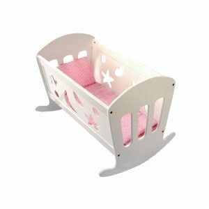 oder so ähnlich Bino 83699 - Puppenwiege mit Bettwäsche, Puppenbett aus Holz, 49cm