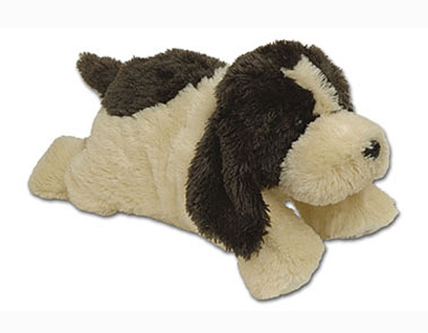 """Warm Puppy - This large (18"""" long) plush warm puppy will be your child's new best friend. Warm Buddies are the original warm-up animals. Each comes with a removable inner pack that can be heated or cooled. A bigger version of your favorite Warm Buddy puppy. A great gift for all ages, animals love them too. Available in chocolate with cream color. Made in Canada."""