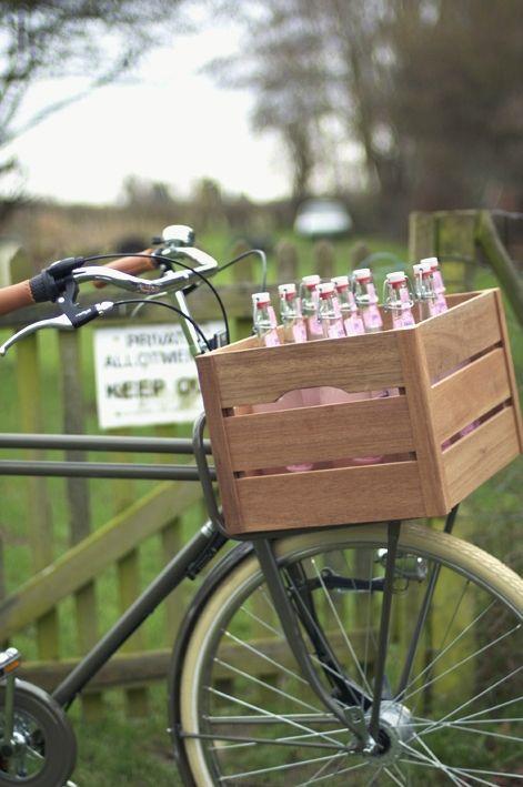 wood crate bike basket
