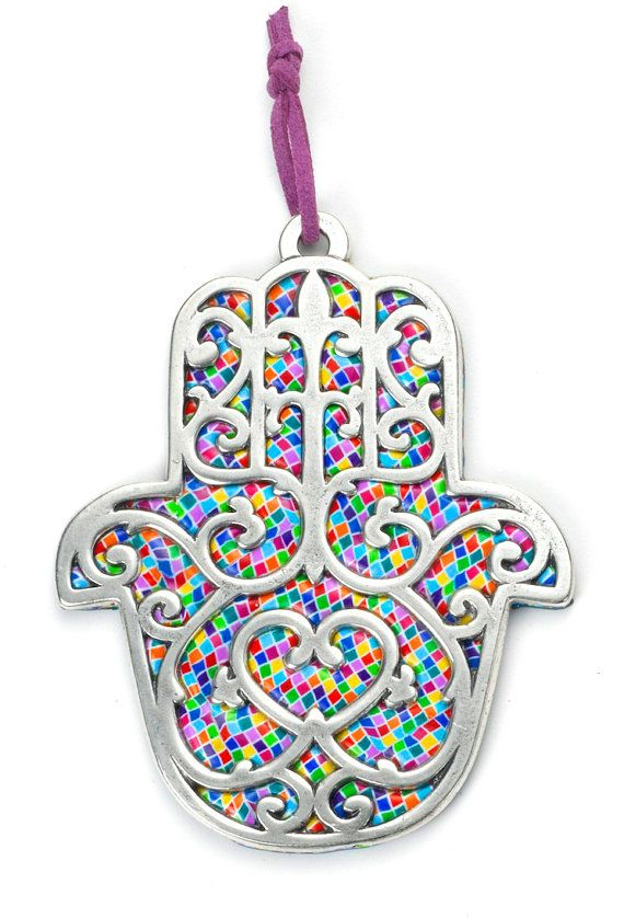 Protective Hamsa Wall Plaque with Jewish Blessings (Home Blessing in SPANISH) - Large Hamsa in Mosaic Millefiori Purple