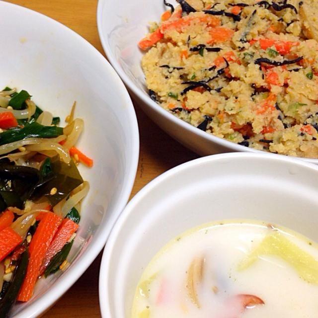 ⚫︎もやしチャプチェ ⚫︎おからの塩麹炒め ⚫︎きゃべつ、あさりの豆乳スープ - 10件のもぐもぐ - 2015.04.06 by amagishinjyu