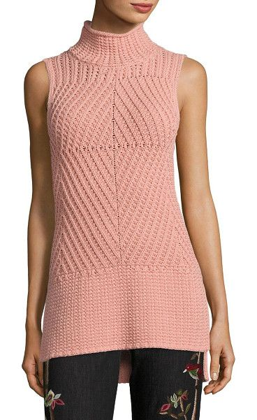 "On SALE at 40% OFF! abbot sleeveless sweater by Alice + Olivia. Intricately patterned sweater in a solid finish. Mockneck. Sleeveless. Pullover style. Hi-lo hem. About 29"" from shou..."