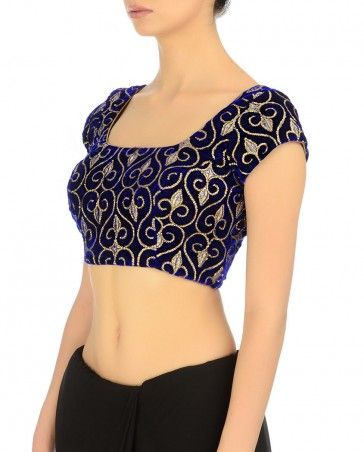 Royal Blue Sequined Blouse - Divya Kanakia - Designers