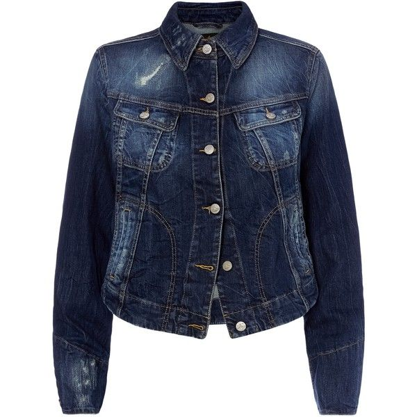 Distressed Blue Icon Jacket (5,385 MXN) ❤ liked on Polyvore featuring outerwear, jackets, blue jackets and distressed jacket