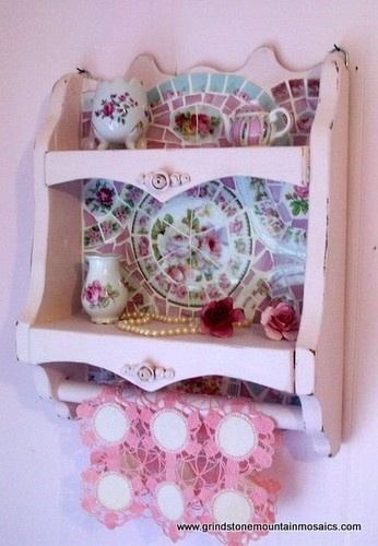 Shabby Pink Rose Wooden Shelf with Towel Rack eclectic bath products