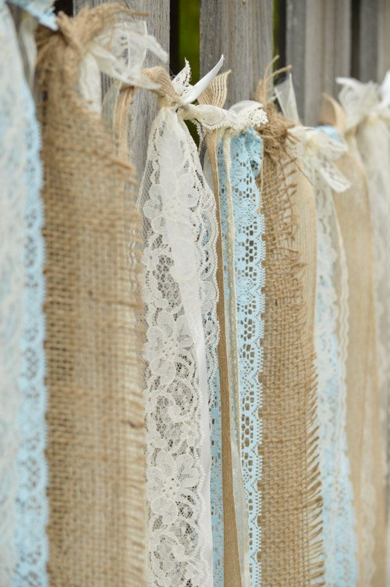 16 Sq ft Burlap Lace Pearl Vintage Shabby by StellaDesignsShop