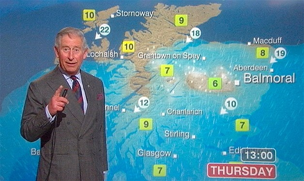 A still image from video shows Britain's Prince Charles presenting a special weather forecast during a visit to BBC Scotland's headquarters in Glasgow, Scotland May 10, 2012