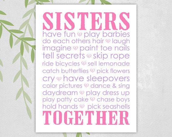 Sisters bedroom decor twin girls playroom art by WillowLanePrints