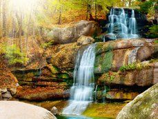 Scenery, waterfall, waterfall, cascade, park, trees, sun, nature