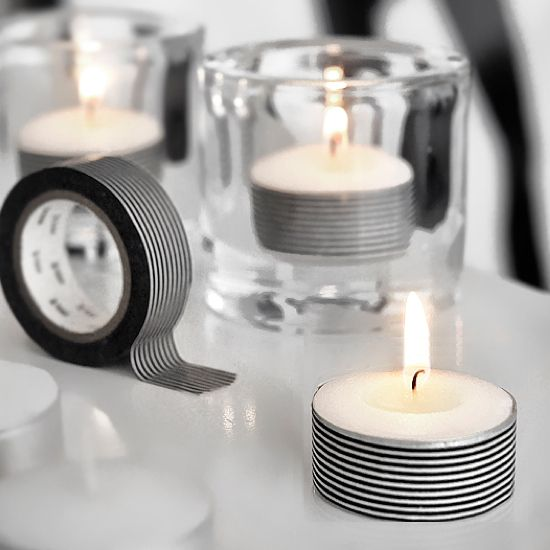 cute way to decorate candles or candle holders! washi tape